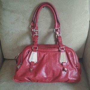 B. Makowsky Dark Red Large Leather Bag Purse